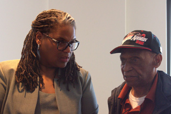 Rev. Connie and longtime UU, Leslie Edwards, grandson of African American UU pioneer, Rev. W.G.H Carter. (Photo: Susan West)